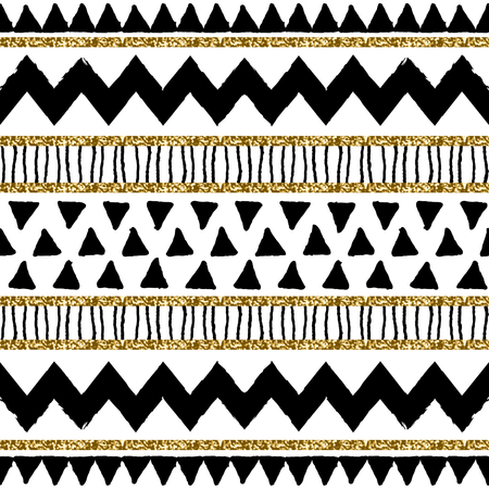Abstract ethnic seamless repeat pattern in black, gold glitter and white. Modern and stylish abstract design poster, cover, card design.