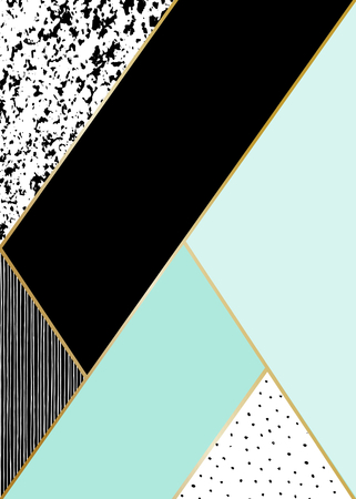 pastel background: Abstract geometric composition in black, white, gold and mint. Hand drawn vintage texture, lines, dots pattern and geometric elements. Modern and stylish abstract design poster, cover, card design.