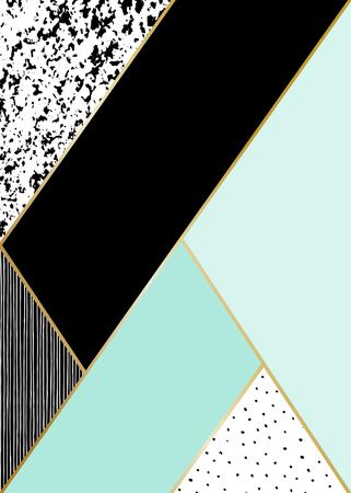 menta: Composici�n geom�trica abstracta en negro, blanco, oro y menta. Dibujado a mano a�ada textura, l�neas, modelo de puntos y elementos geom�tricos. Moderno y elegante P�ster de dise�o abstracto, cubierta, dise�o de la tarjeta. Vectores