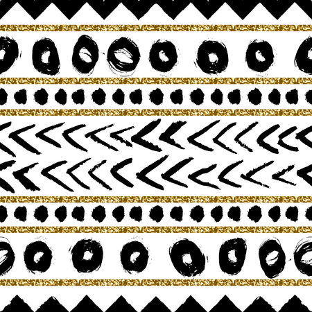 striped background: Abstract ethnic seamless repeat pattern in black, gold glitter and white. Modern and stylish abstract design poster, cover, card design.