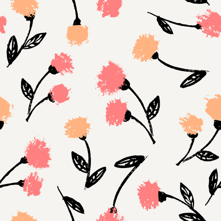 pink and black: Hand drawn floral brush strokes pattern in black, orange, pink and cream, seamless repeating chrysanthemum blossoms vector illustration. Illustration