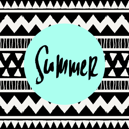 hand lettered: Hand lettered text Summer, neon blue colored circle, tribal geometric pattern background. Modern greeting card, poster, t-shirt design.