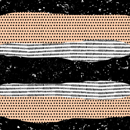 Seamless repeat pattern with grunge textures in black, white and pastel orange.