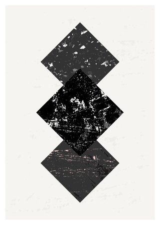 geometric shapes: Abstract composition with textured geometric shapes in black and gray. Minimalist and modern poster, brochure, card design. Illustration