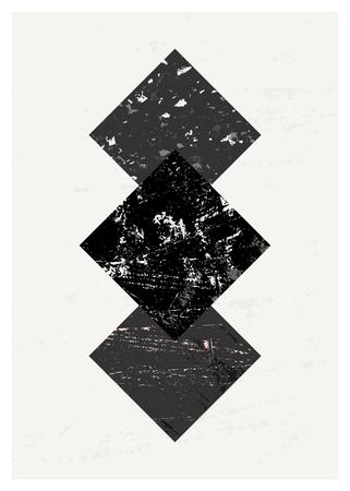 arte moderno: Composición abstracta con formas geométricas con textura en negro y gris. cartel minimalista y moderno, folletos, diseño de la tarjeta. Vectores