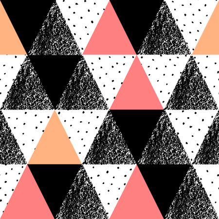Abstract geometric seamless repeat pattern in black, white, orange and pastel pink. Hand drawn vintage texture, dots pattern and geometric elements. Modern and stylish abstract design poster, cover, card design.