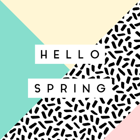 Abstract retro style geometric design in black, white and pastel colors. Hello Spring greeting card, poster, brochure design.