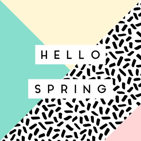 """Zusammenfassung Retro-Stil geometrischen Design in Schwarz, Weiß und Pastellfarben. """"Hallo Frühling"""" Grußkarte, Poster, Broschüre Design."""