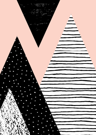 Abstract geometric composition in black, white and pastel pink. Hand drawn vintage texture, dots pattern and geometric elements. Modern and stylish abstract design poster, cover, card design.