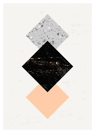 pink and black: Abstract composition with textured geometric shapes in black, gray and pastel pink. Minimalist and modern poster, brochure, card design.