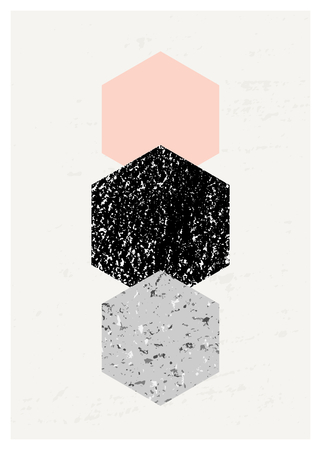 geometric shapes: Abstract composition with textured geometric shapes in black, gray and pastel pink. Minimalist and modern poster, brochure, card design.