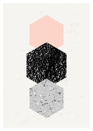 Abstracte compositie met geweven geometrische vormen in zwart, grijs en pastel roze. Minimalistisch en modern poster, brochure, kaart ontwerp.