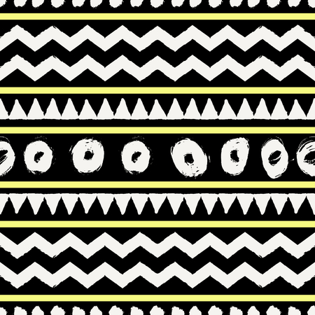 african fabric: Abstract tribal seamless repeat pattern in black, neon yellow and cream. Modern and stylish abstract design poster, cover, card design.
