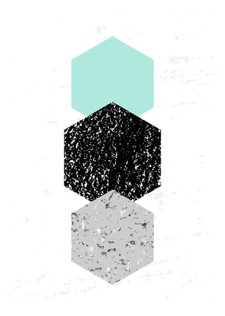minimalist: Abstract composition with textured geometric shapes in black, gray and light blue. Minimalist and modern poster, brochure, card design.