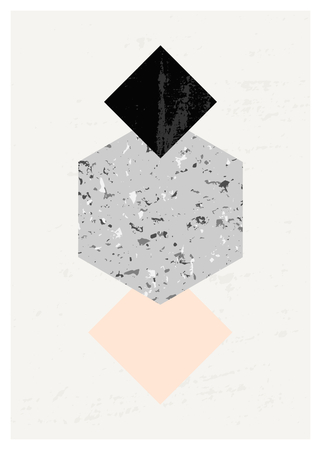 minimalist: Abstract composition with textured geometric shapes in black, gray and pastel pink. Minimalist and modern poster, brochure, card design.
