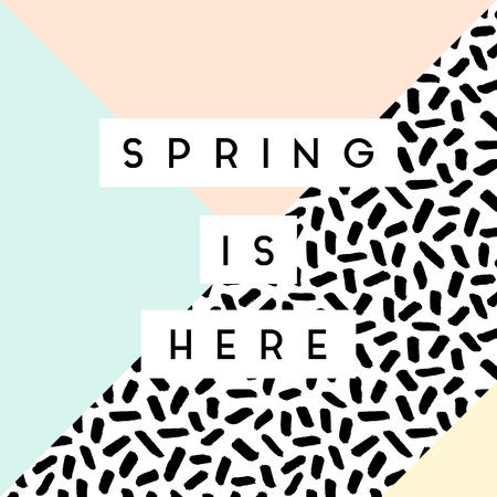 """Zusammenfassung Retro-Stil geometrischen Design in Schwarz, Weiß und Pastellfarben. """"Der Frühling ist da"""" Grußkarte, Poster, Broschüre Design."""