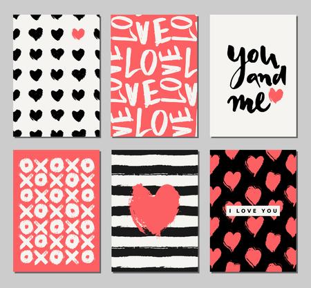 Un conjunto de tres día de San Valentín diseña en negro, crema y rojo coral. Tarjeta romántica de felicitación, invitaciones, plantillas de diseño de carteles.