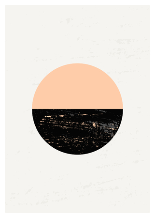 pink and black: Abstract composition with textured geometric shapes in black and pastel pink. Minimalist and modern poster, brochure, card design.