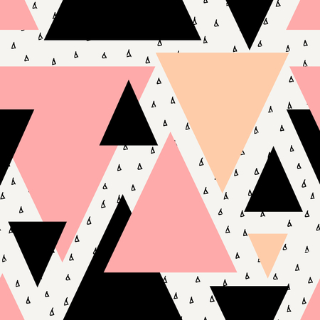Abstract geometric seamless repeat pattern in black, cream, pastel pink and orange. Modern and stylish abstract design poster, cover, card design.  イラスト・ベクター素材