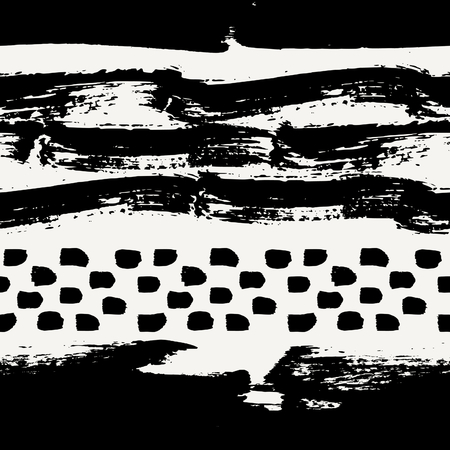 dry brush: Hand painted dry brush strokes in black on cream background. Seamless abstract repeating background.