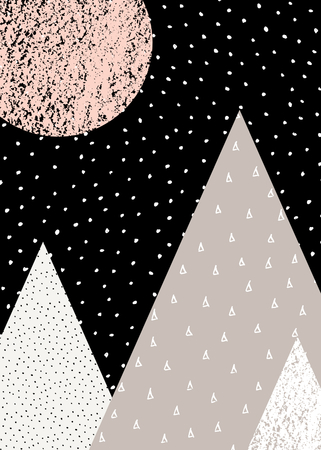 triangle pattern: Abstract geometric composition in black, white, taupe and pastel pink. Hand drawn vintage texture, dots pattern and geometric elements. Modern and stylish abstract design poster, cover, card design.