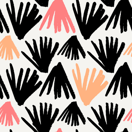 black and pink: Hand drawn brush strokes pattern in black, pink, orange and cream. Seamless repeating abstract leaf shapes vector illustration. Illustration