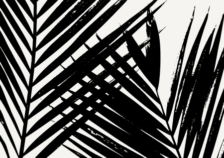 Palm leaf silhouette in black on cream background. Modern poster, card, flyer, t-shirt, apparel design.  イラスト・ベクター素材