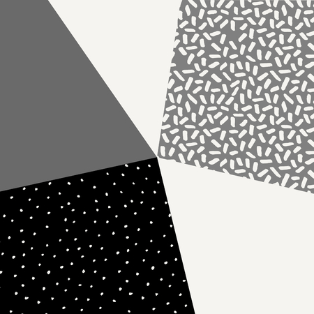 greeting cards: Abstract geometric composition in black, gray and cream. Minimalist and modern poster, brochure, card design.