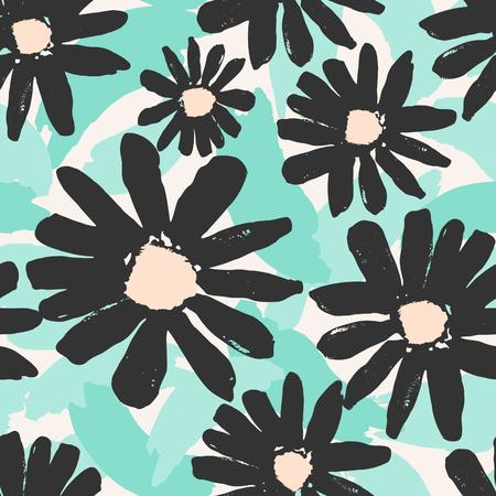brocha de pintura: patrón que se repite sin fisuras con flores pintadas a mano gris sobre un fondo de pinceladas verdes. Vectores