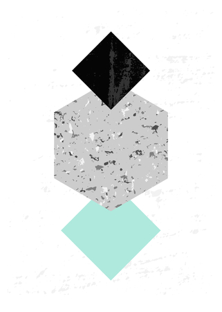 Abstract composition with textured geometric shapes in black, gray and light blue. Minimalist and modern poster, brochure, card design.