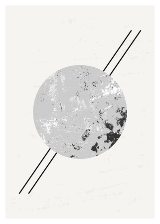 round shape: Abstract composition with textured round shape in black, gray and white. Minimalist and modern poster, brochure, card design.