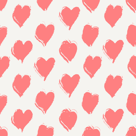 saint valentine: Hand drawn seamless repeat pattern with hearts in pink on cream background. Modern and stylish romantic design poster, wrapping paper, Valentine card design.