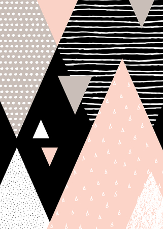 taupe: Abstract geometric composition in black, white, taupe and pastel pink. Hand drawn vintage texture, dots pattern and geometric elements. Modern and stylish abstract design poster, cover, card design.