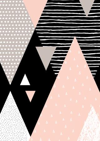 Composición geométrica abstracta en negro, blanco, marrón y rosa pastel. Dibujado a mano textura de la vendimia, el modelo de puntos y elementos geométricos. Moderno y elegante Póster de diseño abstracto, cubierta, diseño de la tarjeta.
