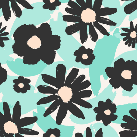 flowers garden: Seamless repeating pattern with hand painted gray flowers on a background of green brush strokes.