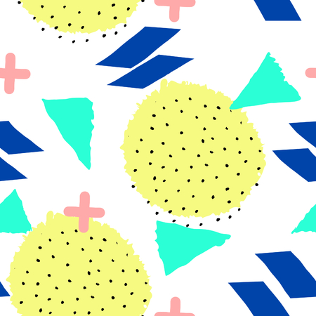 fabric texture: Seamless repeat pattern with geometric elements in neon colors. Yellow, blue, green and pink shapes on white background. Retro style abstract tiling background.
