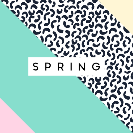 brush stroke: Abstract retro style geometric design in black, white and pastel colors. Spring greeting card, poster, brochure design. Illustration