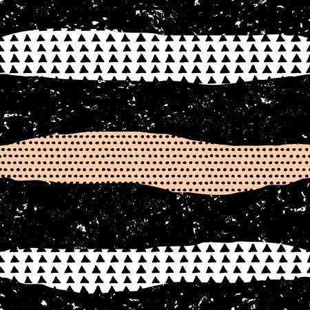 rayas de colores: Modelo inconsútil con las texturas del grunge en negro, naranja, blanco y el pastel.