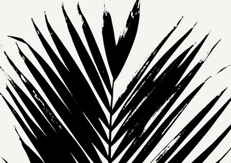 Palm leaf silhouette in black on cream background. Modern poster, card, flyer, t-shirt, apparel design. 矢量图像
