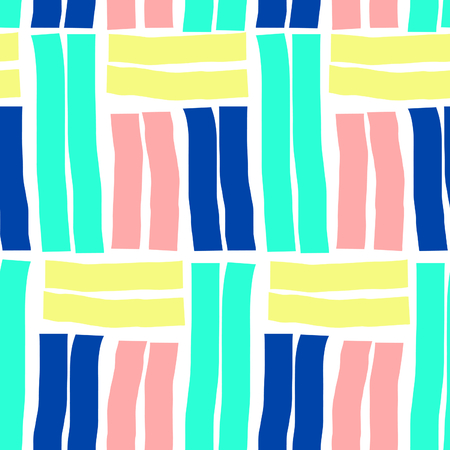 tiling background: Seamless repeat pattern with geometric elements in neon colors. Yellow, blue, green and pink shapes on white background. Retro style abstract tiling background.