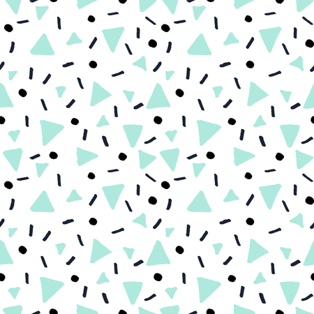Hand drawn abstract pattern in black and mint green on white background. Seamless retro style repeating background. Illustration