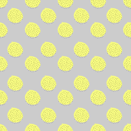 tiling background: Seamless repeat pattern with geometric elements in neon colors. Yellow round shapes on gray background. Retro style abstract tiling background.