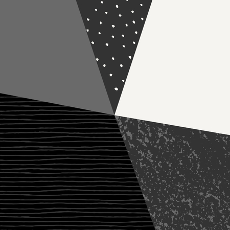 triangle pattern: Abstract geometric composition in black, gray and cream. Minimalist and modern poster, brochure, card design.