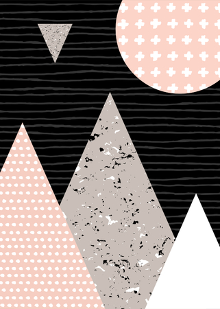 alps: Abstract geometric composition in black, white, taupe and pastel pink. Hand drawn vintage texture, dots pattern and geometric elements. Modern and stylish abstract design poster, cover, card design.