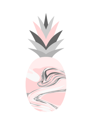 colores pastel: diseño de la piña textura de mármol en colores pastel aislados sobre fondo blanco.