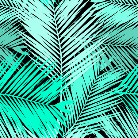 fabric pattern: Seamless repeating pattern with silhouettes of palm tree leaves in blue and green.