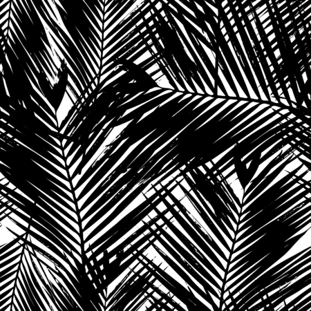 Seamless repeating pattern with silhouettes of palm tree leaves in black and white. Vettoriali