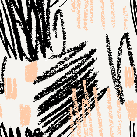 garabatos: Dibujado a mano patrón abstracto en negro, crema y durazno rosa. textil moderna, tarjeta de felicitación, carteles, diseños de papel de envolver. Vectores
