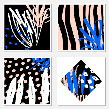 garabatos: A set of hand drawn abstract compositions in black, white, pastel pink and blue. Modern textile, greeting card, poster, wrapping paper designs.