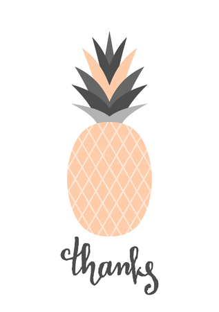 pastel colour: Hand lettered Thanks and pineapple design in pastel colors isolated on white background.